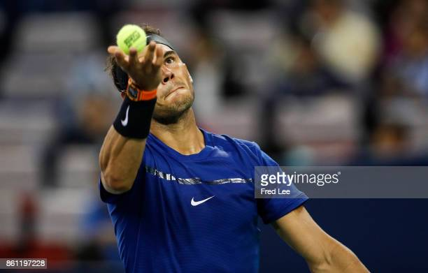 Rafael Nadal of Spain serves during the Men's singles semifinal match against Marin Cilic of Croatia on day 7 of 2017 ATP Shanghai Rolex Masters at...