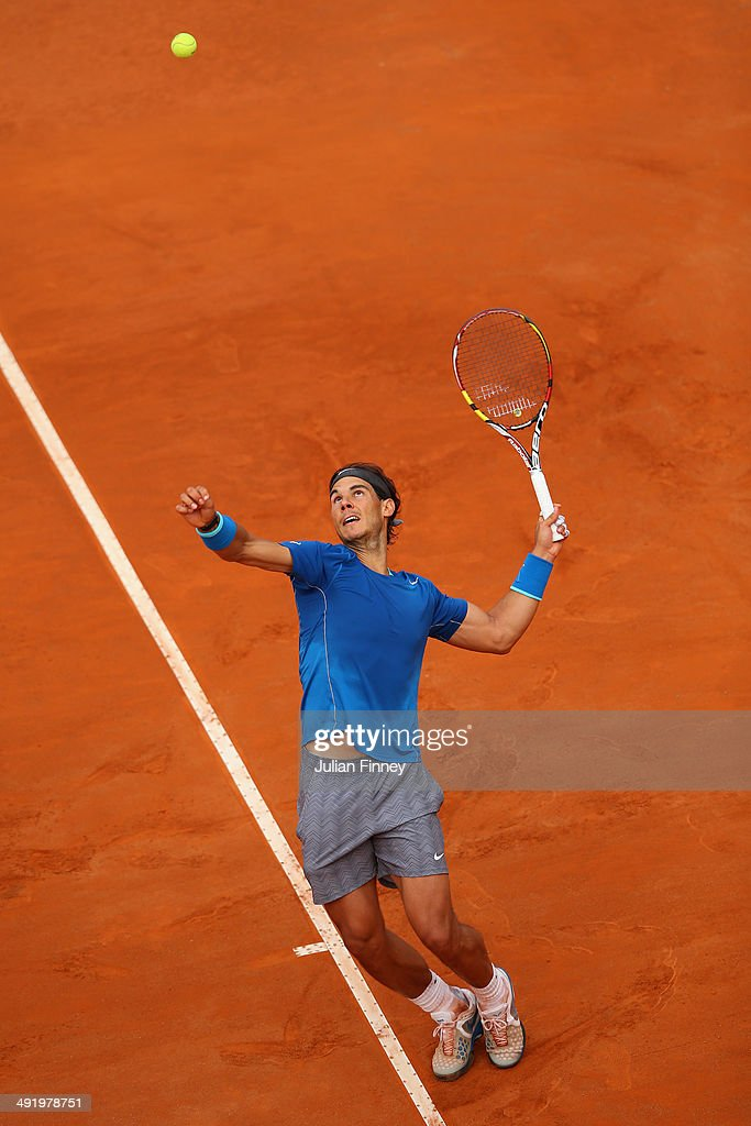 Rafael Nadal of Spain serves in his match against Novak Djokovic of Serbia in the final during day eight of the Internazionali BNL d'Italia tennis 2014 on May 18, 2014 in Rome, Italy.