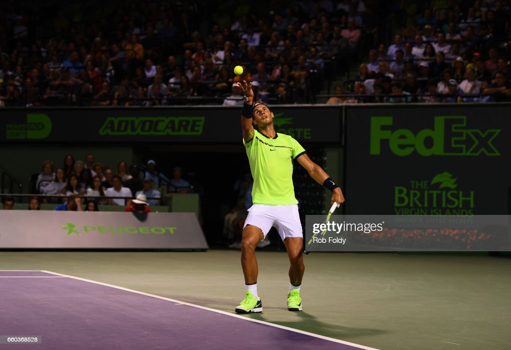 Rafael Nadal of Spain serves the ball during a match against Jack Sock at Crandon Park Tennis Center on March 29, 2017 in Key Biscayne, Florida.