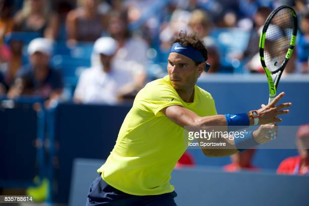 Rafael Nadal of Spain serves the ball during a match in the Western Southern Open at the Lindner Family Tennis Center in Cincinnati OH