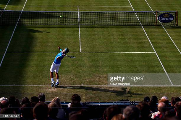 Rafael Nadal of Spain serves the ball during his Men's Singles third round match against Radek Stepanek of Czech Republic on day four of the AEGON...