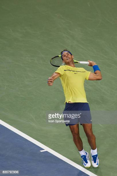 Rafael Nadal of Spain serves the ball during his quarter final match against Nick Kyrgios of Australia in the Western Southern Open at the Lindner...