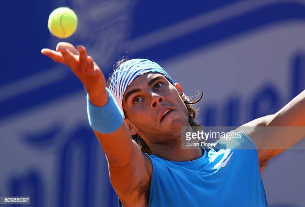 Rafael Nadal of Spain serves to David Ferrer of Spain during the Open Sabadell Atlantico Barcelona 2008 Tennis at the Real Club on May 4 2008 in...