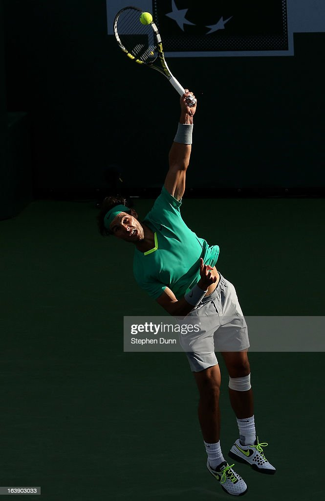 Rafael Nadal of Spain serves to Juan Martin Del Potro of Argentina during the men's final match of the 2013 BNP Paribas Open at the Indian Wells Tennis Garden on March 17, 2013 in Indian Wells, California.