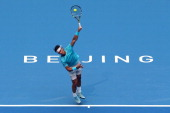 Rafael Nadal of Spain serves to Tomas Berdych of Czech Republic during the semifinals of the 2013 China Open at the National Tennis Center on October...