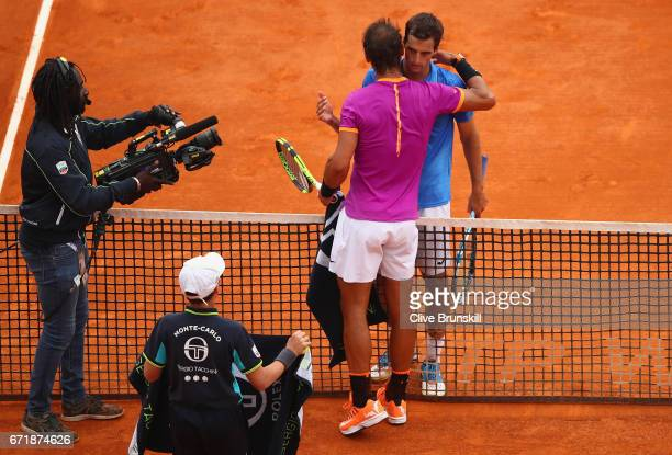 Rafael Nadal of Spain shakes hands at the net after his straight set victory against Albert RamosVinolas of Spain in the final on day eight of the...