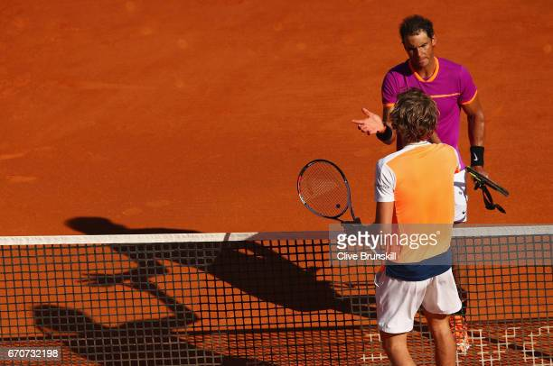 Rafael Nadal of Spain shakes hands at the net after his straight sets victory against Alexander Zverev of Germany in his third round match on day...
