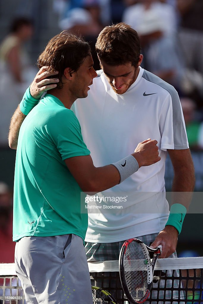 Rafael Nadal (L) of Spain shakes hands with Juan Martin Del Potro of Argentina after their men's final match of the 2013 BNP Paribas Open at the Indian Wells Tennis Garden on March 17, 2013 in Indian Wells, California.