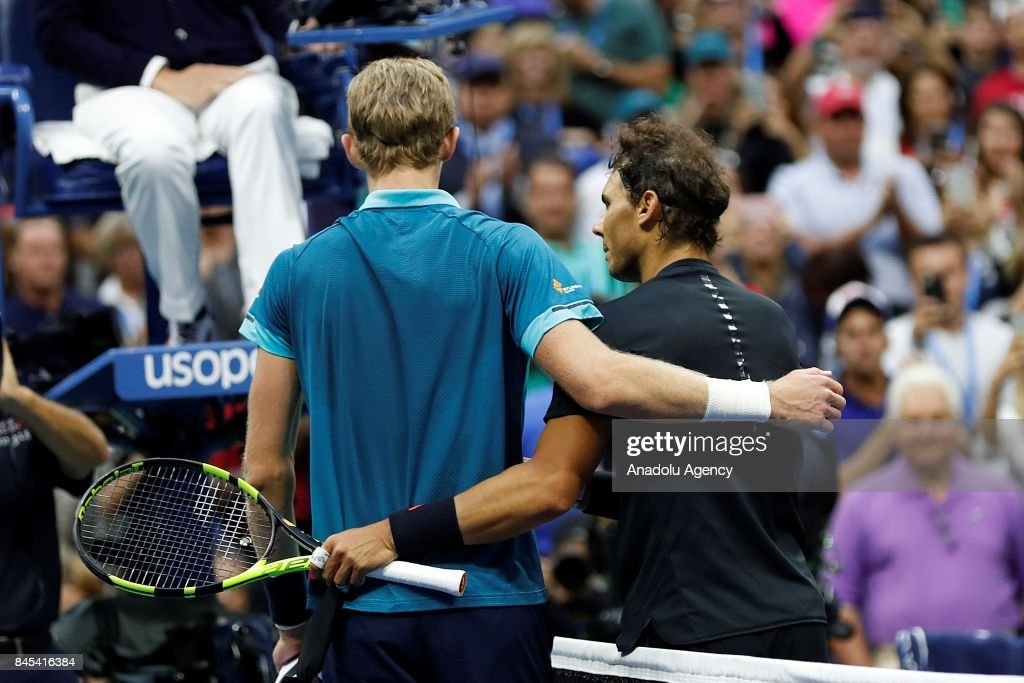 Rafael Nadal of Spain shakes hands with Kevin Anderson of South Africa after defeating him in Men's Singles final match within the 2017 US Open Tennis Championships at Arthur Ashe Stadium in New York, United States on September 10, 2017.