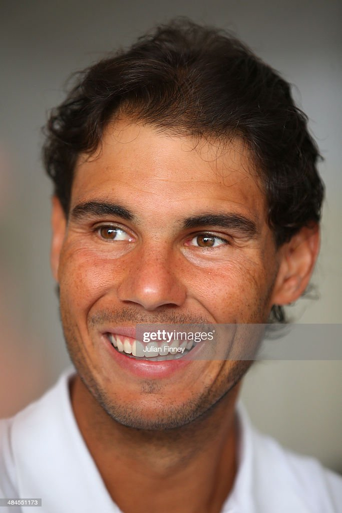<a gi-track='captionPersonalityLinkClicked' href=/galleries/search?phrase=Rafael+Nadal&family=editorial&specificpeople=194996 ng-click='$event.stopPropagation()'>Rafael Nadal</a> of Spain smiles as he talks to the media during day one of the ATP Monte Carlo Rolex Masters Tennis at Monte-Carlo Sporting Club on April 13, 2014 in Monte-Carlo, Monaco.