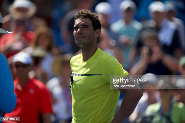 Rafael Nadal of Spain smiles at the crowd after winning his match during a match in the Western Southern Open at the Lindner Family Tennis Center in...