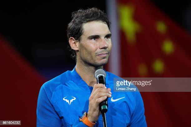 Rafael Nadal of Spain speak during the award ceremony after losing his Men's singles final match against Roger Federer of Switzerland on day eight of...