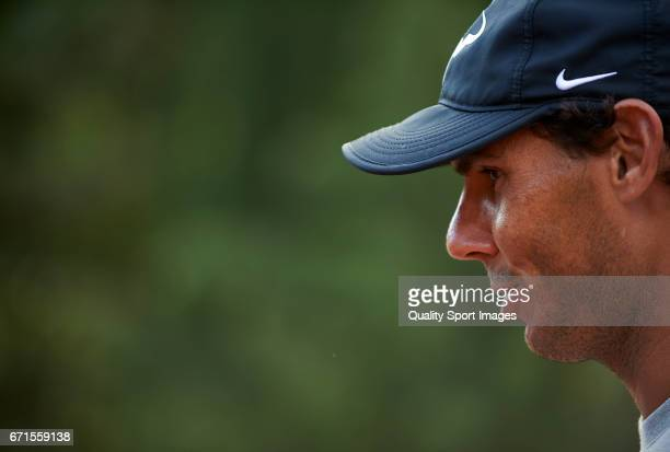 Rafael Nadal of Spain speaks to the media after the match against David Goffin of Belgium during day seven of the ATP Monte Carlo Rolex Masters...