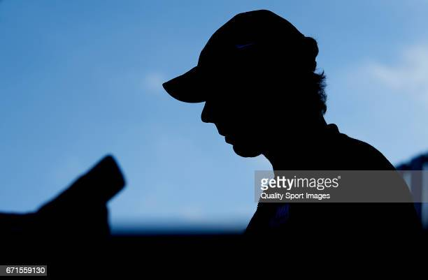 Rafael Nadal of Spain speaks to the media after winning against David Goffin of Belgium during day seven of the ATP Monte Carlo Rolex Masters Tennis...
