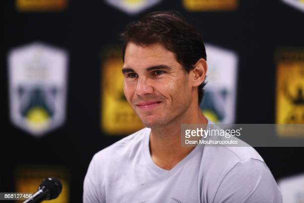 Rafael Nadal of Spain speaks to the media during Day 1 of the Rolex Paris Masters held at the AccorHotels Arena on October 30 2017 in Paris France