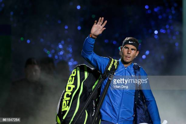 Rafael Nadal of Spain steps into the court prior to the Men's singles final match against Roger Federer of Switzerland on day 8 of 2017 ATP Shanghai...