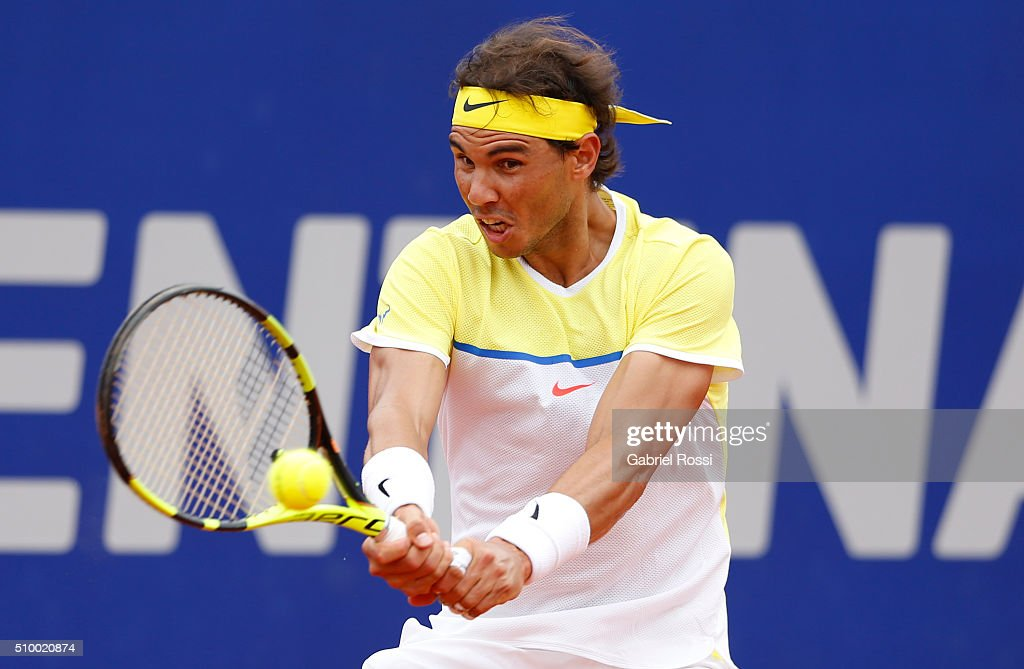 Rafael Nadal of Spain takes a backhand shot during a match between Rafael Nadal of Spain and Dominic Thiem of Austria as part of ATP Argentina Open at Buenos Aires Lawn Tennis Club on February 13, 2016 in Buenos Aires, Argentina.