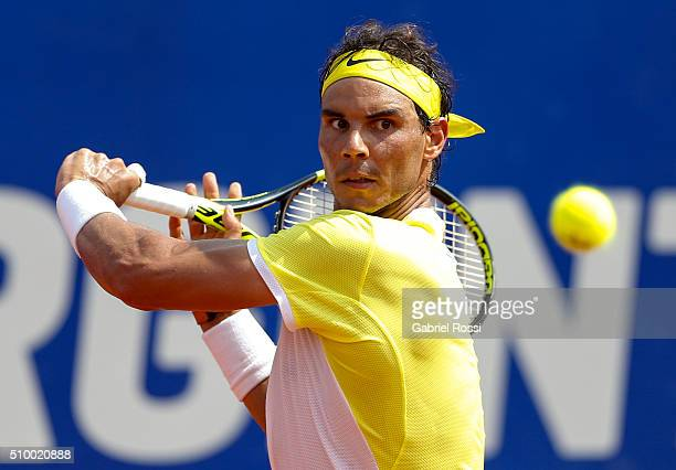 Rafael Nadal of Spain takes a backhand shot during a match between Rafael Nadal of Spain and Dominic Thiem of Austria as part of ATP Argentina Open...