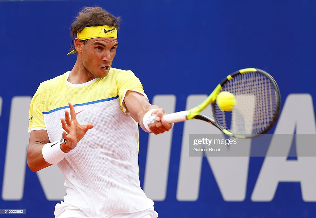 <a gi-track='captionPersonalityLinkClicked' href=/galleries/search?phrase=Rafael+Nadal&family=editorial&specificpeople=194996 ng-click='$event.stopPropagation()'>Rafael Nadal</a> of Spain takes a forehand shot during a match between <a gi-track='captionPersonalityLinkClicked' href=/galleries/search?phrase=Rafael+Nadal&family=editorial&specificpeople=194996 ng-click='$event.stopPropagation()'>Rafael Nadal</a> of Spain and Dominic Thiem of Austria as part of ATP Argentina Open at Buenos Aires Lawn Tennis Club on February 13, 2016 in Buenos Aires, Argentina.