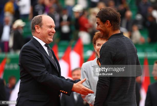Rafael Nadal of Spain talks to Prince Albert ll of Monaco after his straight set victory against Albert RamosVinolas of Spain in the final on day...