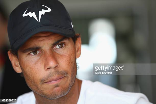 Rafael Nadal of Spain talks to the media during a press conference on day one of the Monte Carlo Rolex Masters at MonteCarlo Sporting Club on April...