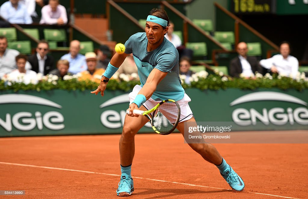 <a gi-track='captionPersonalityLinkClicked' href=/galleries/search?phrase=Rafael+Nadal&family=editorial&specificpeople=194996 ng-click='$event.stopPropagation()'>Rafael Nadal</a> of Spain volleys during the Men's Singles second round match against Facundo Bagnis of Argentina on day five of the 2016 French Open at Roland Garros on May 26, 2016 in Paris, France.