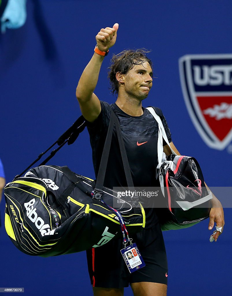 Rafael Nadal of Spain walks off the court after his loss to Fabio Fognini of Italy on Day Five of the 2015 US Open at the USTA Billie Jean King National Tennis Center on September 4, 2015 in the Flushing neighborhood of the Queens borough of New York City.