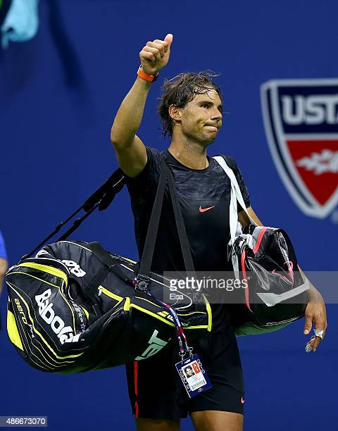 Rafael Nadal of Spain walks off the court after his loss to Fabio Fognini of Italy on Day Five of the 2015 US Open at the USTA Billie Jean King...
