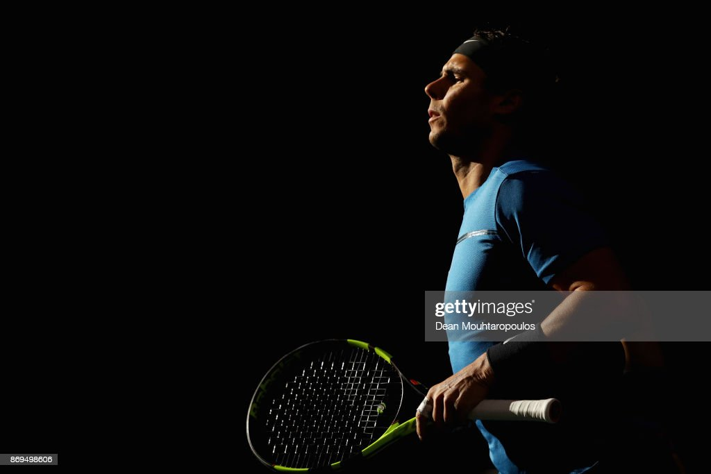 Rafael Nadal of Spain warms up prior to his match against Pablo Cuevas of Uraguay during Day 4 of the Rolex Paris Masters held at the AccorHotels Arena on November 2, 2017 in Paris, France.
