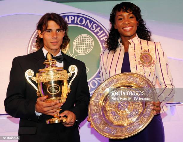 Rafael Nadal of Spain who beat Roger Federer to become a first time winner of the Men's Singles Wimbledon Tennis Championship with Venus Williams of...