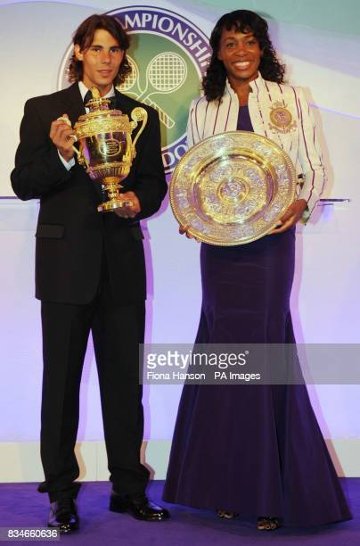 Rafael Nadal of Spain who beat Roger Federerto become a first time winner of the Men's Singles Wimbledon Tennis Championship with Venus Williams of...
