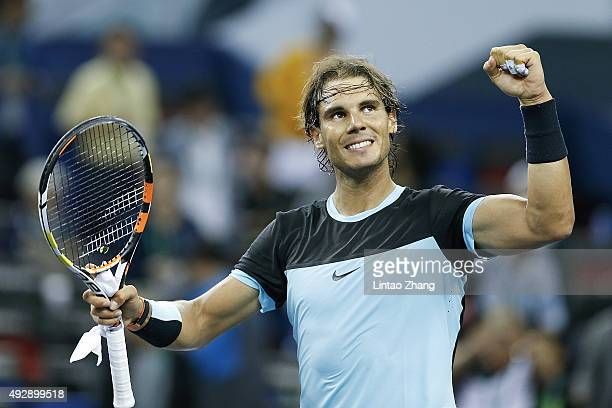Rafael Nadal of Spain winning his men's singles quarterfinals match against Stan Wawrinka of Switzerland on day 6 of Shanghai Rolex Masters at Qi...