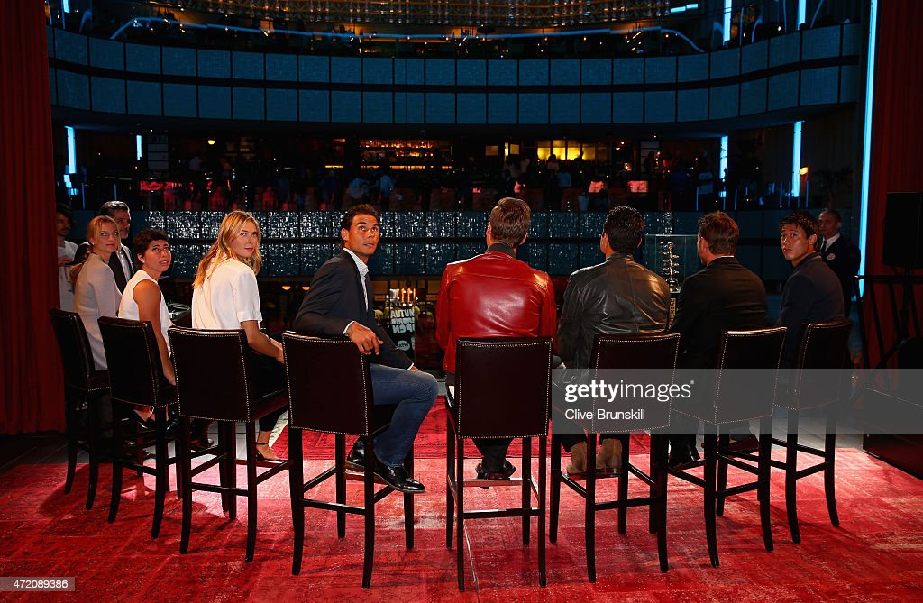 R-L Rafael Nadal of Spain,Maria Sharapova of Russia,Carla Suarez Navarro of Spain and Petra Kvitova of the Czech Republic at the player party during day two of the Mutua Madrid Open tennis tournament at the Caja Magica on May 3, 2015 in Madrid, Spain.