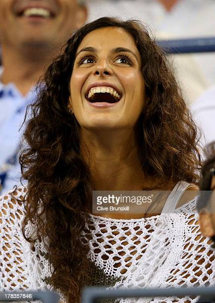 Rafael Nadal of Spain's girlfriend Xisca Perello smiles during his men's singles second round match against Rogerio Dutra Silva of Brazil on Day Four...