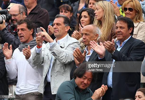 Rafael Nadal of Spain's uncle Miguel Nadal father Sebastian Nadal girlfriend Xisca Perello sister Isabel Nadal and mother Ana Maria Parera applaud...