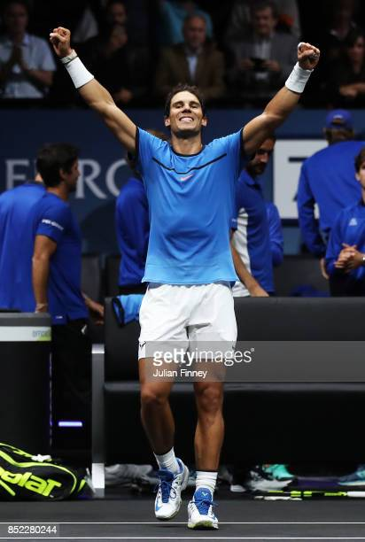 Rafael Nadal of Team Europe celebrates after winning his singles match against Jack Sock of Team World on Day 2 of the Laver Cup on September 23 2017...