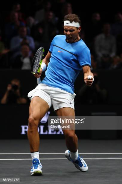 Rafael Nadal of Team Europe celebrates winning a point during his singles match against Jack Sock of Team World on Day 2 of the Laver Cup on...