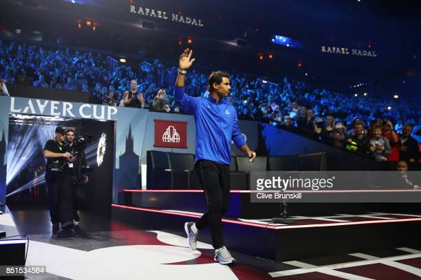 Rafael Nadal of Team Europe is introduced to the crowd on the first day of the Laver Cup on September 22 2017 in Prague Czech Republic The Laver Cup...