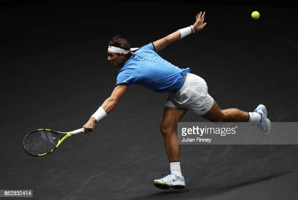 Rafael Nadal of Team Europe plays a backhand during his singles match against Jack Sock of Team World on Day 2 of the Laver Cup on September 23 2017...
