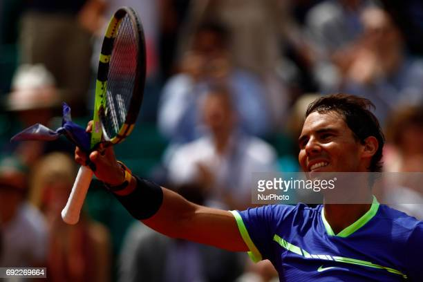 Rafael Nadal on day eight of the 2017 French Open at Roland Garros on June 4 2017 in Paris France