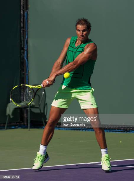 Rafael Nadal practices before the start of the 2017 Miami Open on March 21 at Tennis Center at Crandon Park in Key Biscayne FL