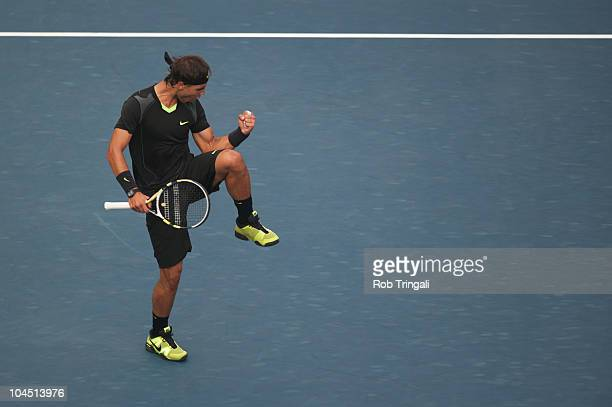 Rafael Nadal reacts after winning a game against Novak Djokovic in the men's final on day fifteen of the 2010 US Open at the USTA Billie Jean King...