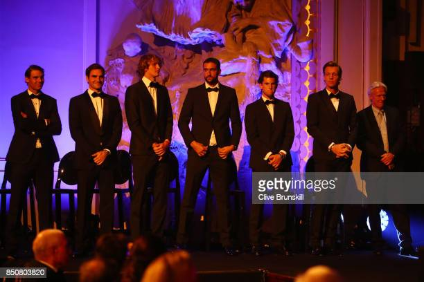 Rafael Nadal Roger Federer Alexander Zverev Marin Cilic Dominic Thiem Tomas Berdych and Bjorn Borg Captain of Team Europe line up on stage during the...