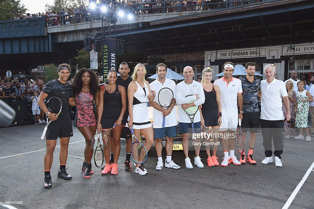 <a gi-track='captionPersonalityLinkClicked' href=/galleries/search?phrase=Rafael+Nadal&family=editorial&specificpeople=194996 ng-click='$event.stopPropagation()'>Rafael Nadal</a>, <a gi-track='captionPersonalityLinkClicked' href=/galleries/search?phrase=Serena+Williams&family=editorial&specificpeople=171101 ng-click='$event.stopPropagation()'>Serena Williams</a>, Genie Bouchard, Nick Kyrgious, <a gi-track='captionPersonalityLinkClicked' href=/galleries/search?phrase=Maria+Sharapova&family=editorial&specificpeople=157600 ng-click='$event.stopPropagation()'>Maria Sharapova</a>, <a gi-track='captionPersonalityLinkClicked' href=/galleries/search?phrase=Pete+Sampras&family=editorial&specificpeople=202162 ng-click='$event.stopPropagation()'>Pete Sampras</a>, <a gi-track='captionPersonalityLinkClicked' href=/galleries/search?phrase=Andre+Agassi&family=editorial&specificpeople=157607 ng-click='$event.stopPropagation()'>Andre Agassi</a>, <a gi-track='captionPersonalityLinkClicked' href=/galleries/search?phrase=Madison+Keys&family=editorial&specificpeople=5965706 ng-click='$event.stopPropagation()'>Madison Keys</a>, <a gi-track='captionPersonalityLinkClicked' href=/galleries/search?phrase=Roger+Federer&family=editorial&specificpeople=157480 ng-click='$event.stopPropagation()'>Roger Federer</a>, <a gi-track='captionPersonalityLinkClicked' href=/galleries/search?phrase=Grigor+Dimitrov&family=editorial&specificpeople=4332557 ng-click='$event.stopPropagation()'>Grigor Dimitrov</a> and <a gi-track='captionPersonalityLinkClicked' href=/galleries/search?phrase=John+McEnroe&family=editorial&specificpeople=159411 ng-click='$event.stopPropagation()'>John McEnroe</a> attend Nike's 'NYC Street Tennis' event on August 24, 2015 in New York City.