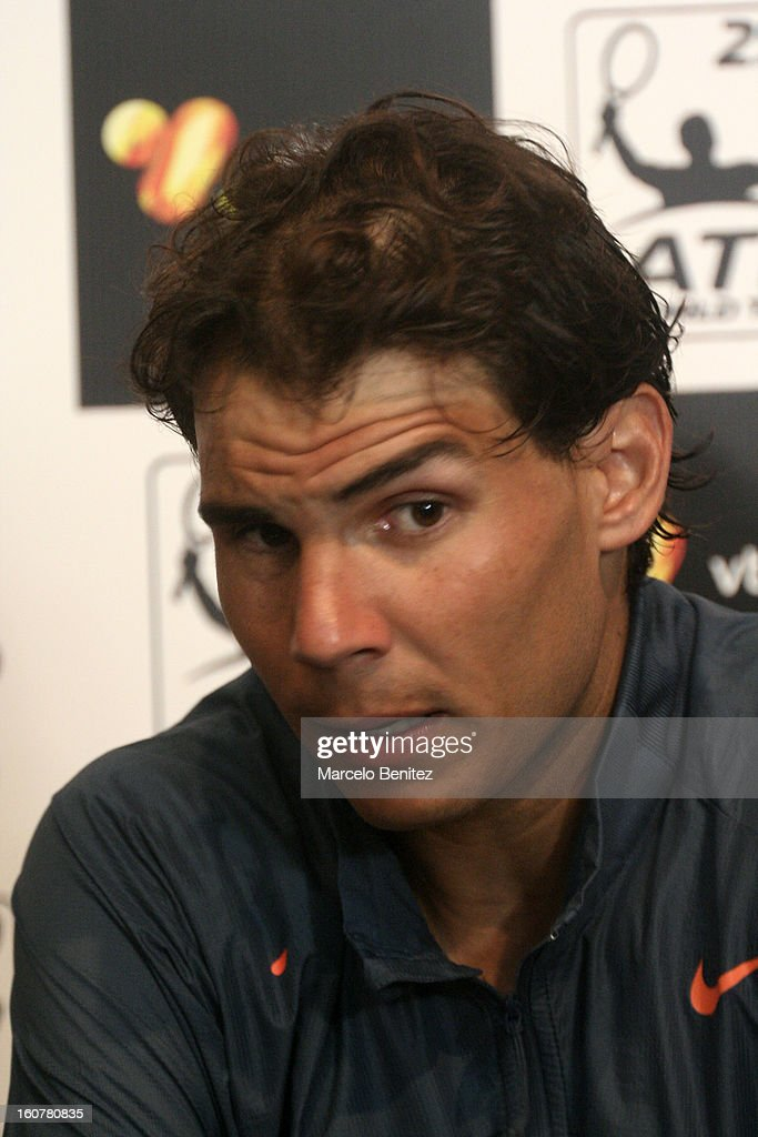 <a gi-track='captionPersonalityLinkClicked' href=/galleries/search?phrase=Rafael+Nadal&family=editorial&specificpeople=194996 ng-click='$event.stopPropagation()'>Rafael Nadal</a> speaks during a press conference after a double tennis match between <a gi-track='captionPersonalityLinkClicked' href=/galleries/search?phrase=Rafael+Nadal&family=editorial&specificpeople=194996 ng-click='$event.stopPropagation()'>Rafael Nadal</a> and Juan Mónaco against Frantisek Cermak and Lukas Dlouhya of Czechoslovak as part of the day 1 of the ATP Viña del Mar VTR Open 2013 on February 05, 2013 in Viña del Mar, Chile.