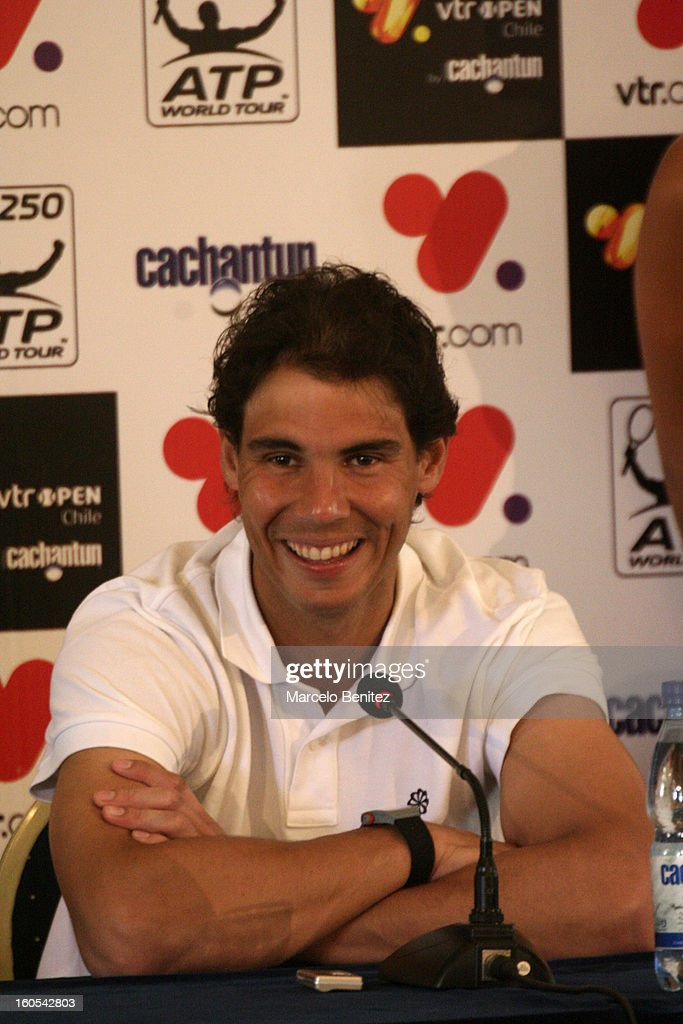 <a gi-track='captionPersonalityLinkClicked' href=/galleries/search?phrase=Rafael+Nadal&family=editorial&specificpeople=194996 ng-click='$event.stopPropagation()'>Rafael Nadal</a> speaks to media during the press conference after the draw of doubles and singles for VTR Open 2013 on February 2, 2013 in Viña del Mar, Chile.