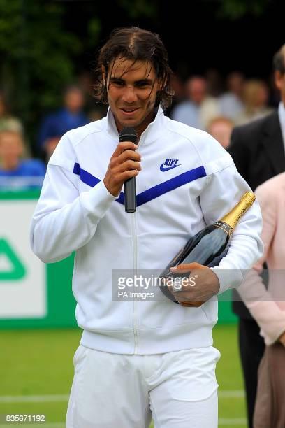 Rafael Nadal speaks to the crowd after beating Stanislas Wawrinka during the BNP Paribas Fortis Tennis Classic at the Hurlingham Club London