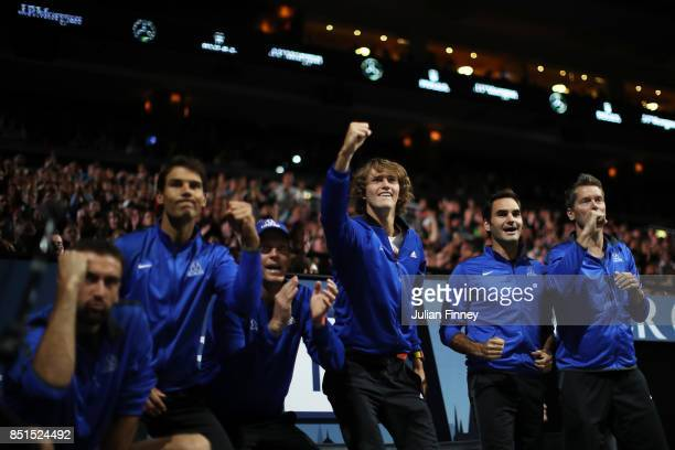 Rafael Nadal Tomas Berdych Alexander Zverev and Roger Federer and Thomas Enqvist of Team Europe celebrate as they watch the singles match between...