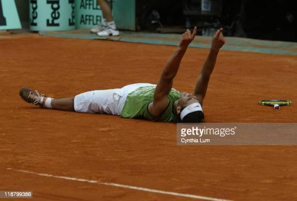 Rafael Nadal wins the French Open title in Paris defeating Mariano Puerta 67 63 61 75 at Roland Garros in Paris France on June 5 2005