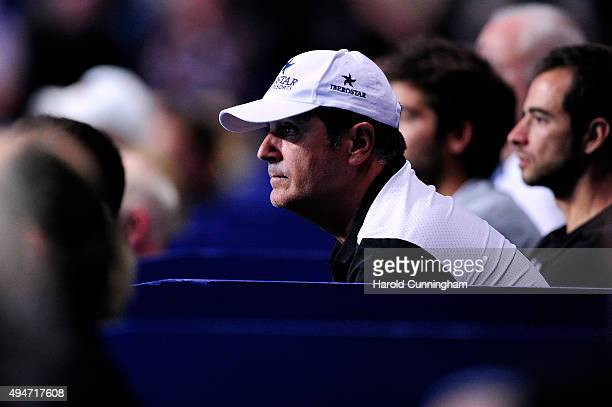 Rafael Nadal's Coach Toni Nadal looks on during the second day of the Swiss Indoors ATP 500 tennis tournament against Grigor Dimitrov of Bulgaria at...